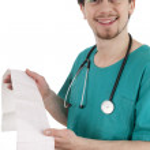 Cardiologist reads cardiogram sick — Stock Photo