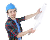 Worker in hardhat with blueprint — Stock Photo