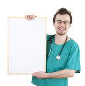 постоянный врач с billboard — Стоковое фото