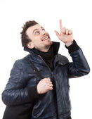 Pointing young man — Stock Photo