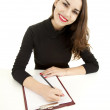 Writing female student — Stock Photo