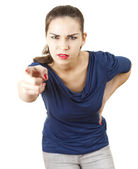 Pointing you angry young woman — Stock Photo