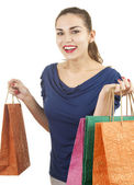 Smiling shopping young woman — Stock Photo
