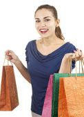 Smiling shopping jeune femme — Photo
