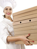 Chef woman with boxes of pizza — Stock Photo