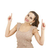 Pointing up smiling girl — Stock Photo