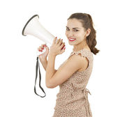 Young woman with megaphone — Stock Photo