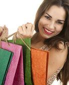 Menina compra a sorrir — Fotografia Stock