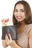 Gelukkig huizes vrouw met geld — Stockfoto