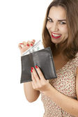 Happy joung woman with money — Stock Photo