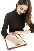 Writing student woman — Stock Photo