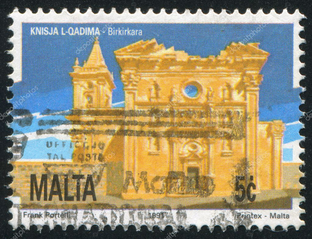 MALTA - CIRCA 1991: stamp printed by Malta, shows Old Church Birkirkara, circa 1991  Stock Photo #10279196