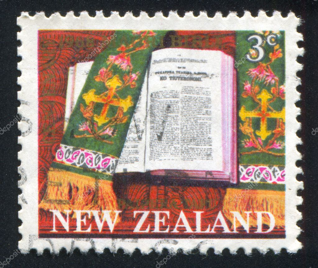 NEW ZEALAND - CIRCA 1968 stamp printed by New Zealand, shows Maori Publication of Bible, circa 1968 — Stock Photo #10282374