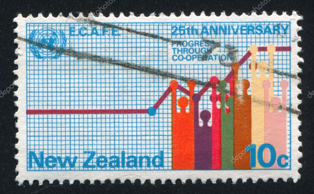 NEW ZEALAND - CIRCA 1973: stamp printed by New Zealand, shows Progress Chart, circa 1973  Stock Photo #10282443