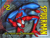 ST. VINCENT GRENADINES - CIRCA 2003: stamp printed by St. Vincent Grenadines, shows Spiderman, circa 2003. — Stock Photo