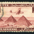 airplane over giza pyramids — Stock Photo