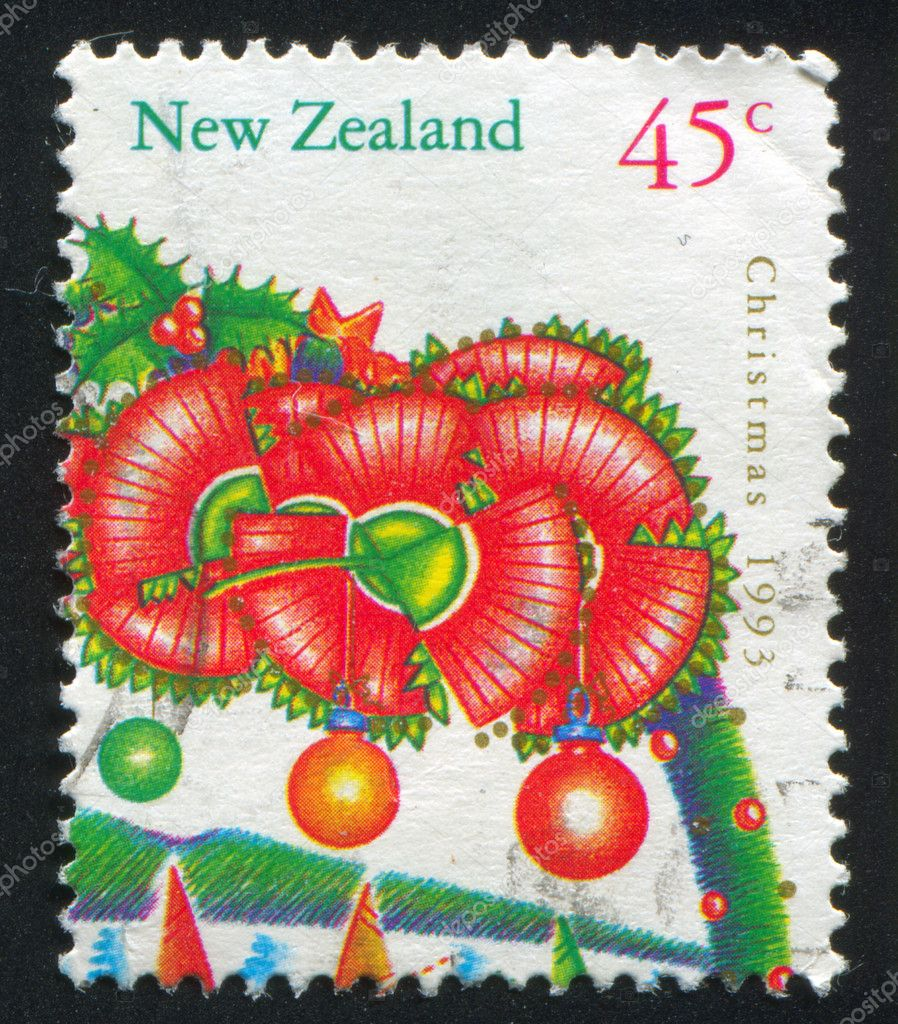 NEW ZEALAND - CIRCA 1993: stamp printed by New Zealand, shows Christmas, Flowers from pohutukawa tree, circa 1993 — Zdjęcie stockowe #10545851