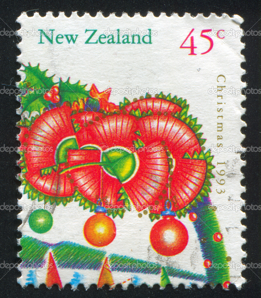 NEW ZEALAND - CIRCA 1993: stamp printed by New Zealand, shows Christmas, Flowers from pohutukawa tree, circa 1993 — Stock fotografie #10545851