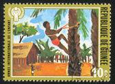 Junge klettern baum — Stockfoto