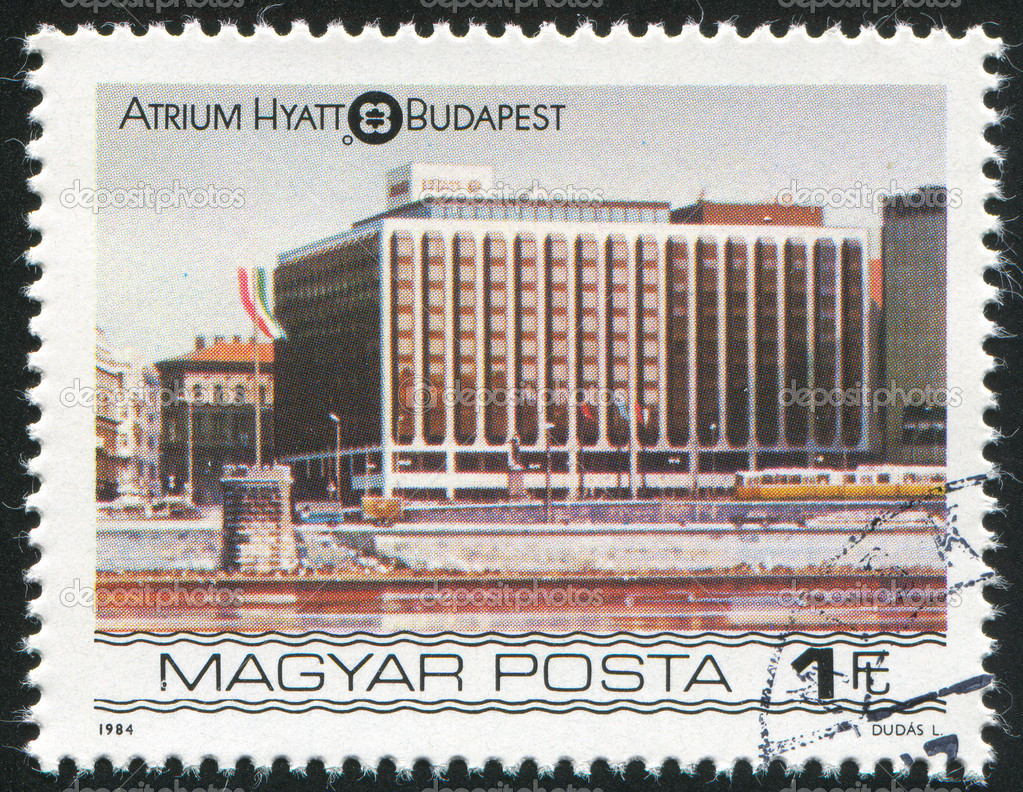 HUNGARY - CIRCA 1984: stamp printed by Hungary, shows Budapest Atrium Hyatt Hotel, circa 1984 — Stock Photo #8039608