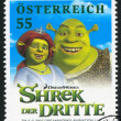 Постер, плакат: AUSTRIA CIRCA 2007: stamp printed by Austria shows Shrek and Princess Fiona circa 2007