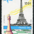 Chess piece and Eiffel Tower — Zdjęcie stockowe