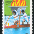 Doubles canoeing — Stock Photo