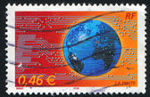 Globe and microcircuits — Stock Photo