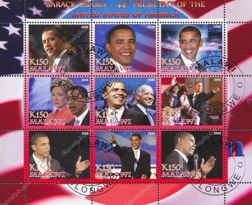 MALAWI - CIRCA 2008: stamp printed by Malawi, shows Barack Obama, circa 2008 — Stock Photo #8865317