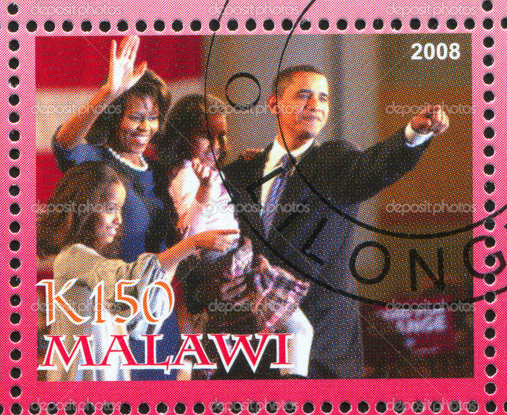MALAWI - CIRCA 2008: stamp printed by Malawi, shows Barack Obama, circa 2008 — Stock Photo #8865330