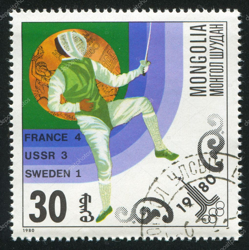 MONGOLIA - CIRCA 1980: stamp printed by Mongolia, shows  fencing, circa 1980 — Stock Photo #9128405