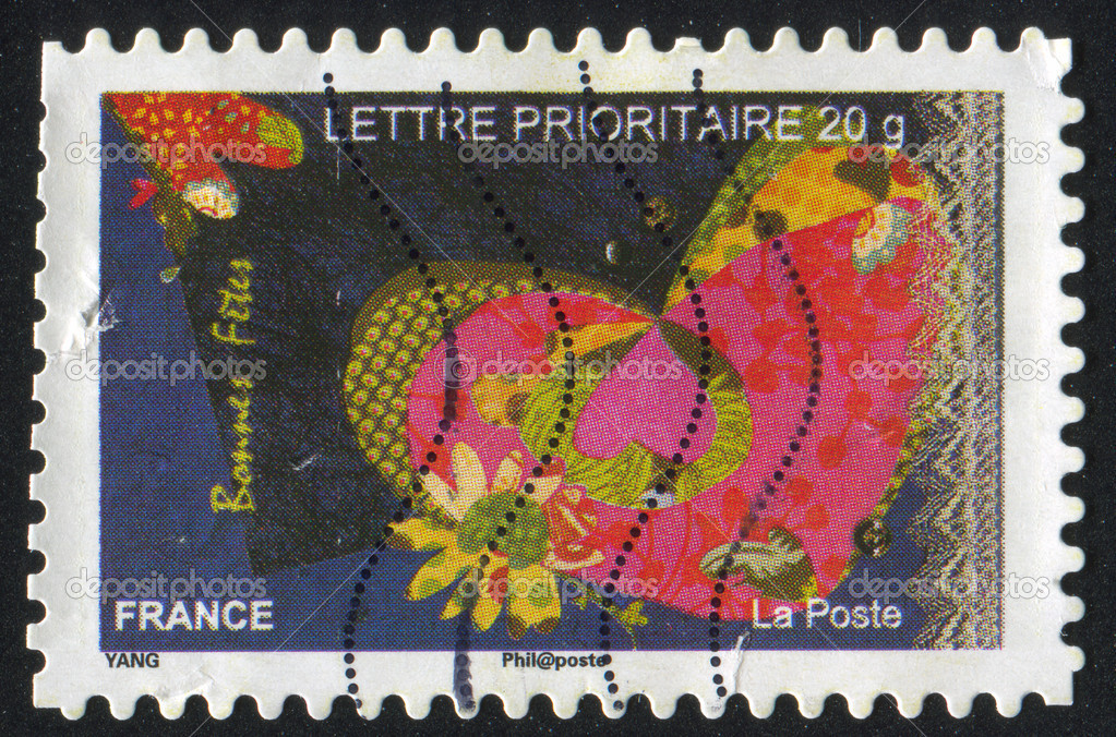 FRANCE - CIRCA 2008: stamp printed by France, shows heart, circa 2008 — Stock Photo #9132121