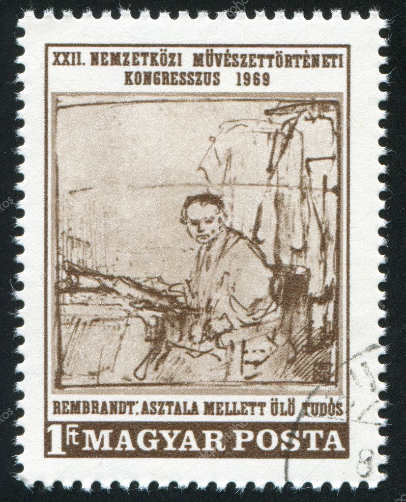 HUNGARY – CIRCA 1969: stamp printed by Hungary, shows picture The Scholar, by Rembrandt, circa 1969, circa 1969 — Foto Stock #9132144