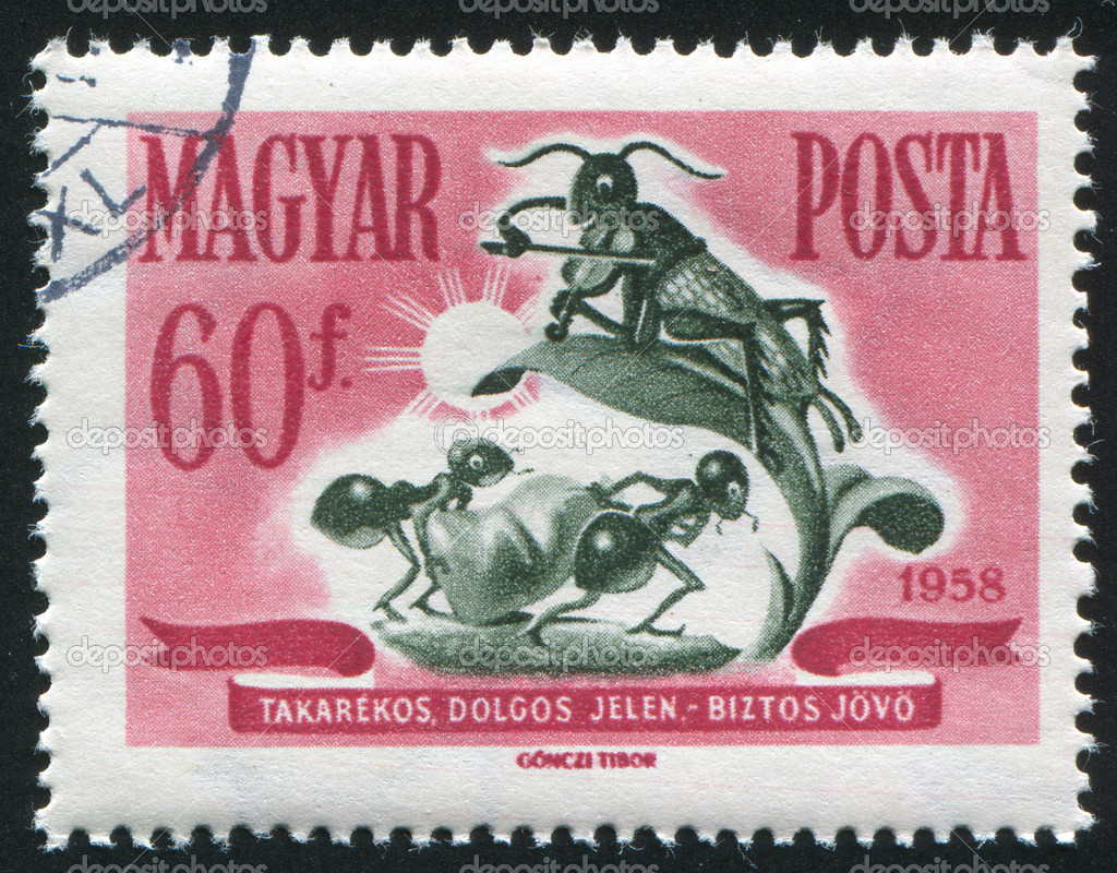 HUNGARY  CIRCA 1958: stamp printed by Hungary, shows ants mit sack and grasshopper with violin, circa 1958  Stock Photo #9132169