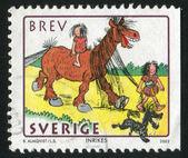 Pojke ledande häst — Stockfoto