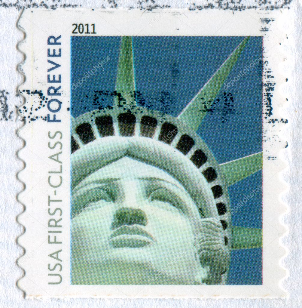 UNITED STATES - CIRCA 2011: stamp printed by United States, shows Statue of Liberty, circa 2011 — Stock Photo #9384113