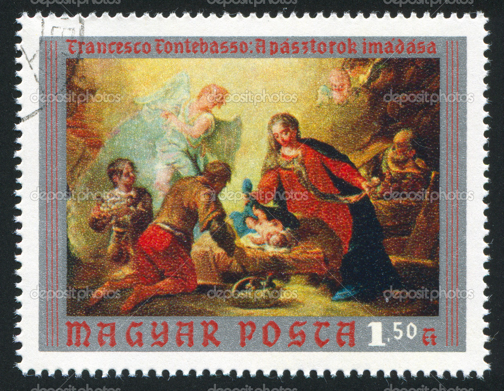 HUNGARY – CIRCA 1970: stamp printed by Hungary, shows adoration of the Shepherds, by Francesco Fontebasso, circa 1970 — Stock Photo #9384325