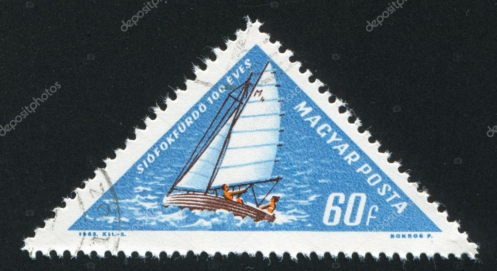 HUNGARY - CIRCA 1963: stamp printed by Hungary, show  on the yacht, circa 1963 — Stock Photo #9384359