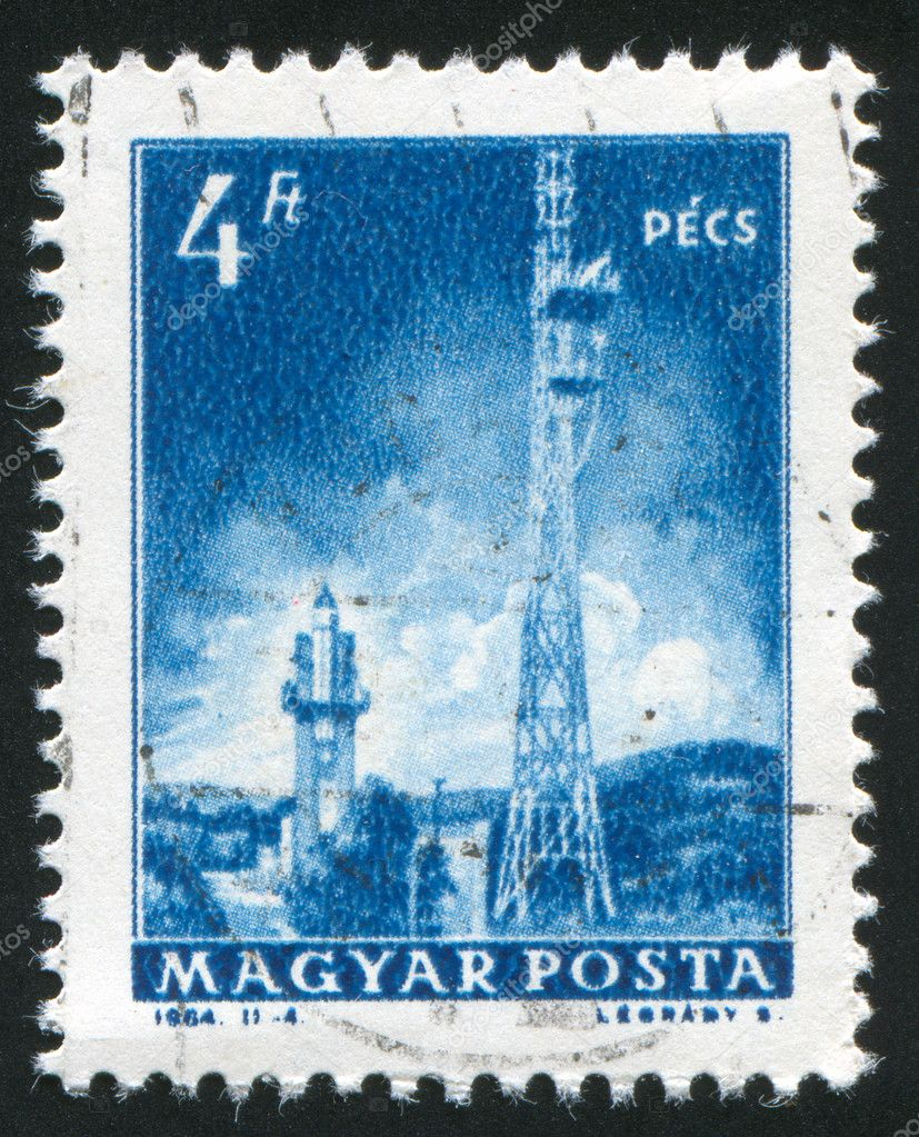 HUNGARY – CIRCA 1964: stamp printed by Hungary, shows Television transmitters, Pecs, circa 1964 — Stock Photo #9385461