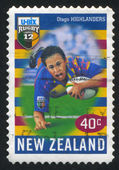 NEW ZEALAND - CIRCA 1999: stamp printed by New Zealand, shows New Zealand U-Bix Rugby Super, Highlanders, circa 1999 — Foto Stock