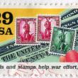 Bonds and stamps help war effort — Stock Photo