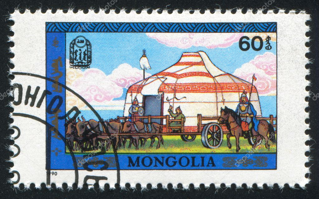 MONGOLIA - CIRCA 1990: stamp printed by Mongolia, tent with horses, circa 1990 — Stock Photo #9640948