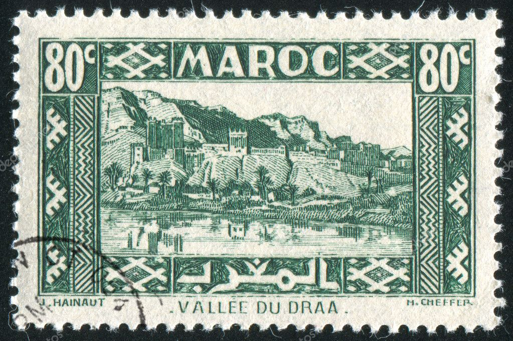 FRENCH MOROCCO - CIRCA 1942: stamp printed by Morocco, shows Valley of Draa, circa 1942  Stock Photo #9641401
