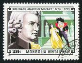 莫扎特和场景从他不可思议的长笛 — 图库照片