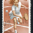 Girl plays tennis — Stock Photo