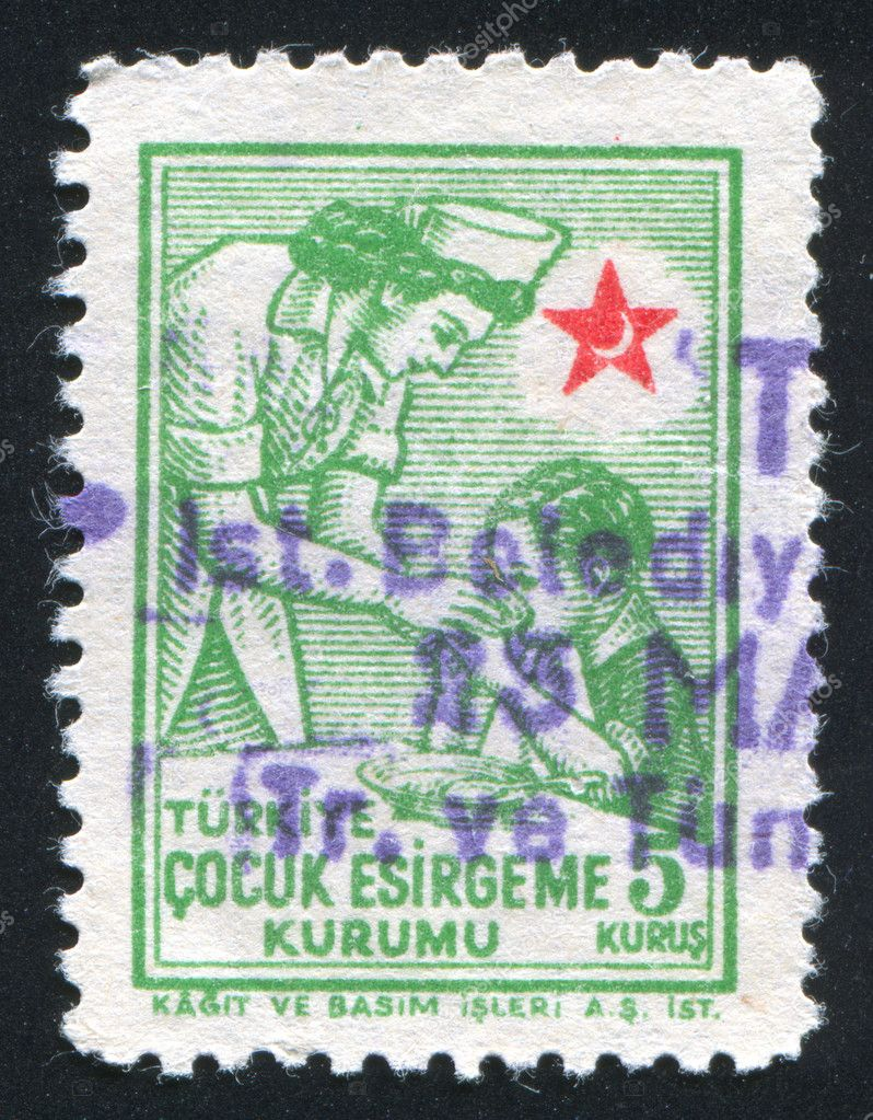 TURKEY- CIRCA 1943: stamp printed by Turkey, shows child and sister, circa 1943 — Stock Photo #9819049