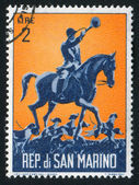Hound Master on horseback — Stock Photo