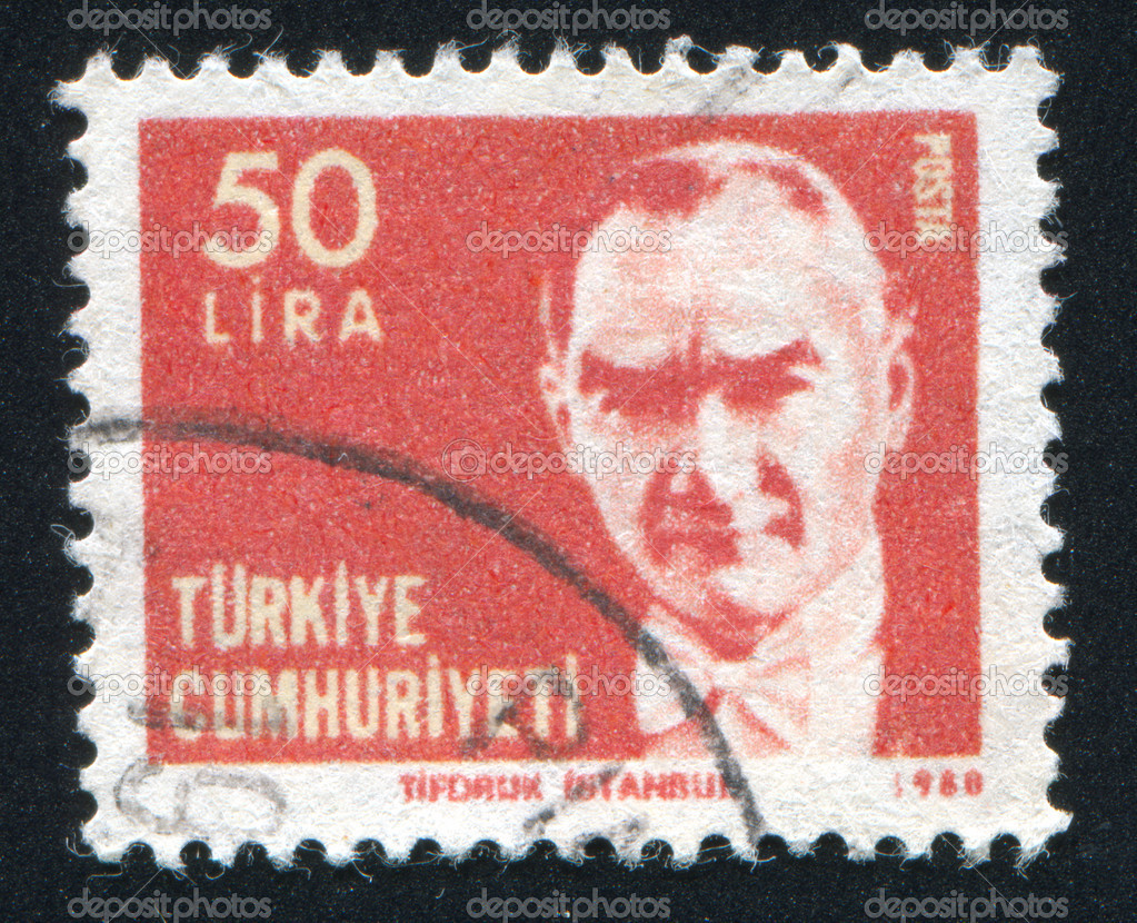 TURKEY - CIRCA 1980: stamp printed by Turkey, shows president Kemal Ataturk, circa 1980.  Stock Photo #9946671