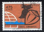 Hazelnut and globe — Stock Photo
