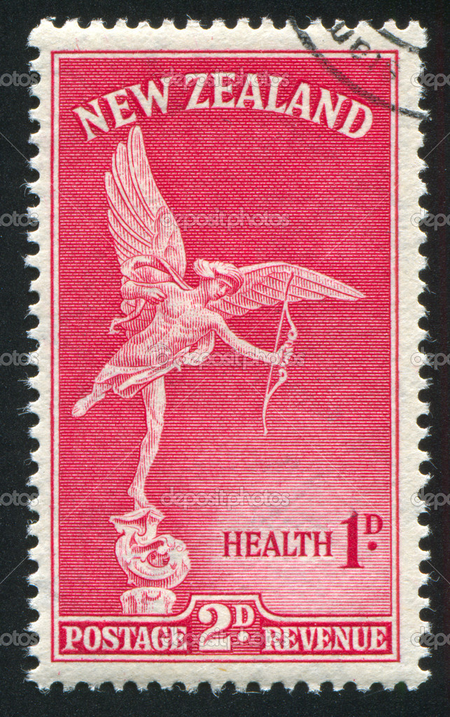 NEW ZEALAND - CIRCA 1947: stamp printed by New Zealand, shows Statue of Eros, London, circa 1947 — Stock Photo #9953168